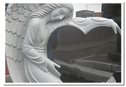 Carved Angel heart granite monument