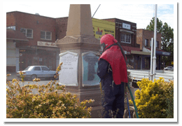 Onsite sandblasting inscription