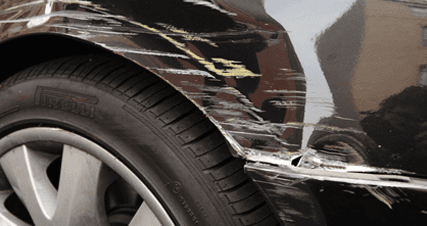 A scraped wheel arch