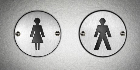 Composite image - Men & Women's portable toilet door symbol and VIP portable shower and toilet facilities at Swansea event