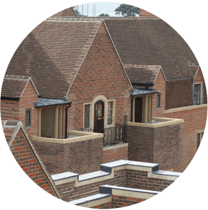 A large development with single-ply, hot melt and liquid applied roofing