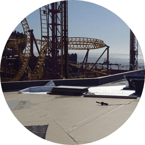 A flat roof at Adventure Island built by SEECO Roofing