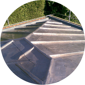 Looking down at a new pitched lead roof by SEECO Roofing