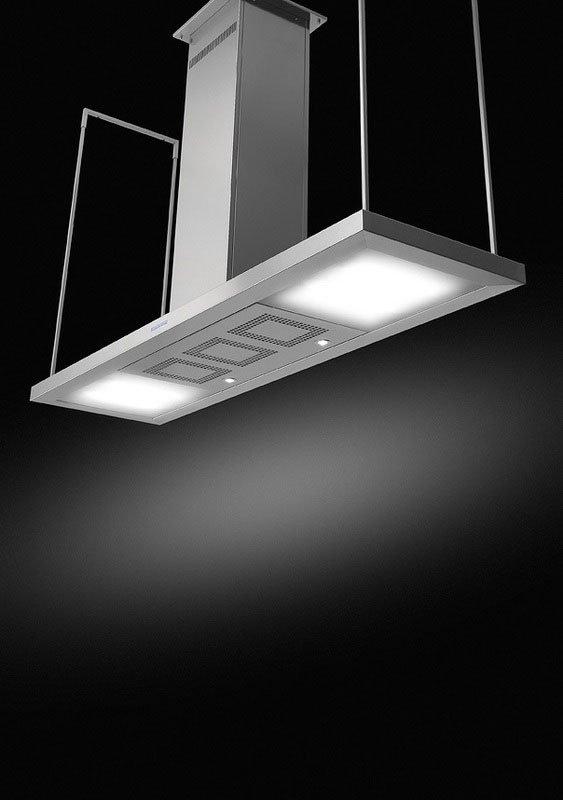 una cappa da cucina sospesa al soffitto con delle luci