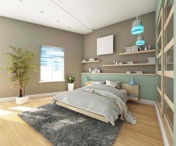 camera da letto con tappeto grigio e parquet