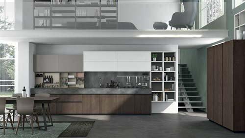 cucina open space con living room