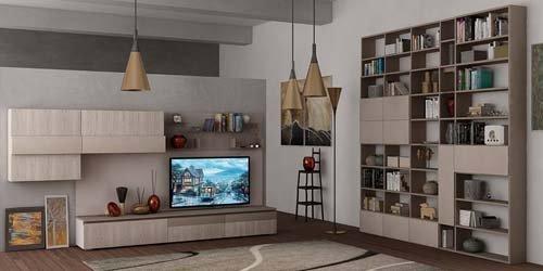 soggiorno con libreria e tv