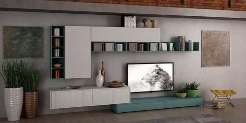 soggiorno con tv a muro