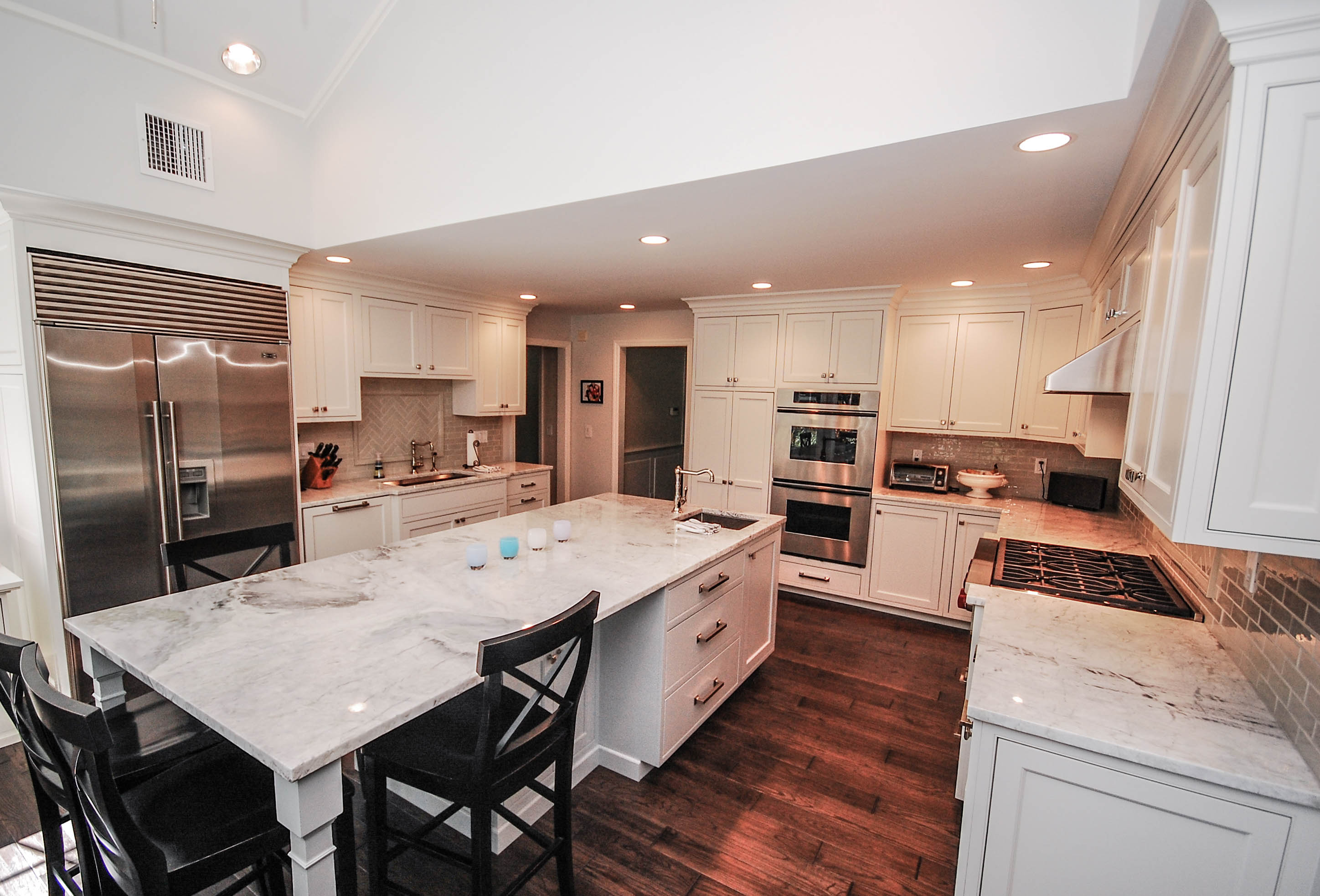 general contractor, kitchen with large island eating area renovated by SIP Building Solutions - Westport, Fairfield, Stamford, Greenwich, Danbury CT
