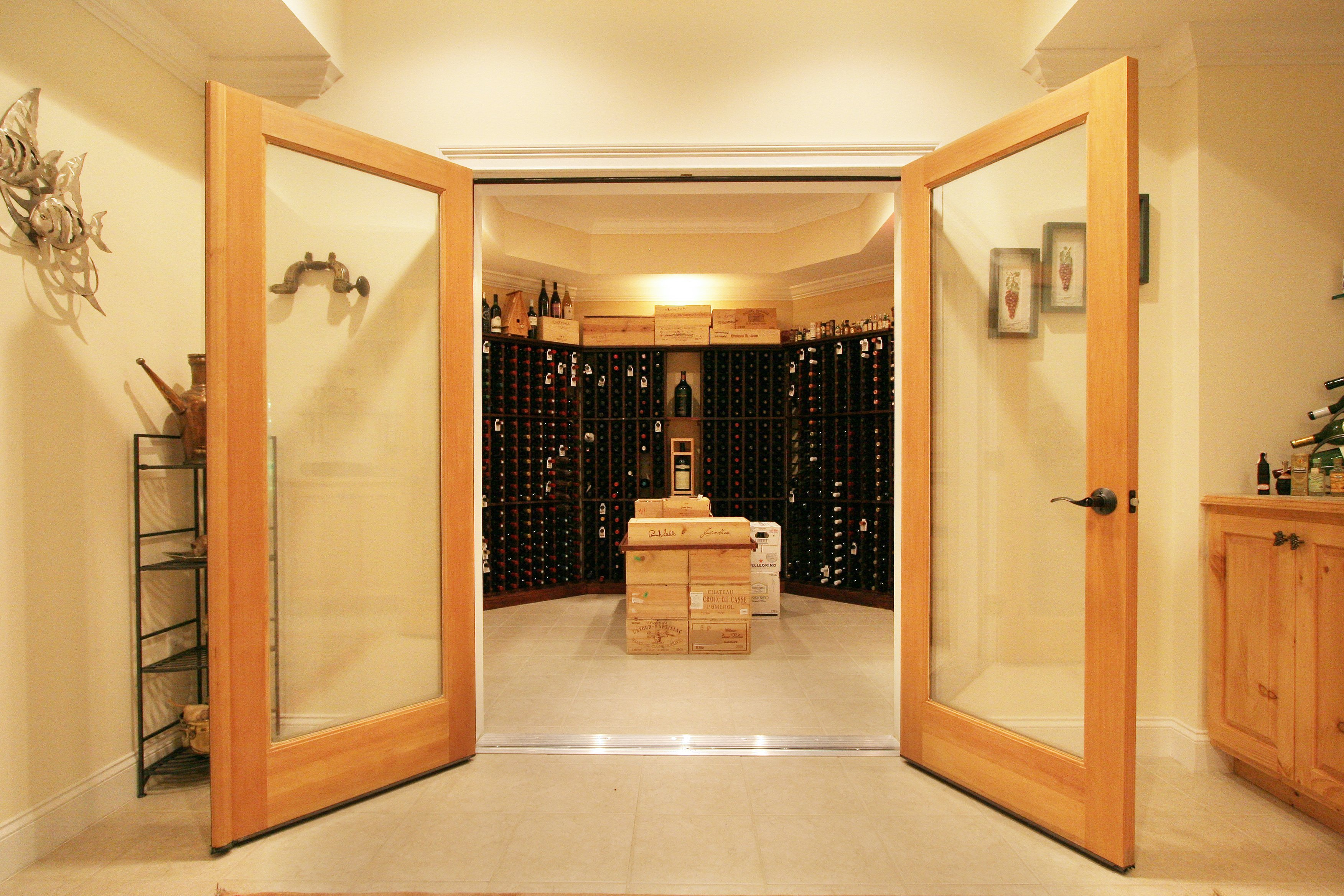 general contractor wine room, constructed by SIP Building Solutions - Westport, Fairfield, Stamford, Greenwich, Danbury CT