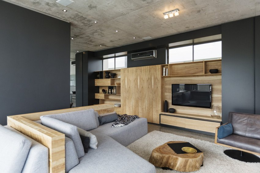 grey and wooden based living room