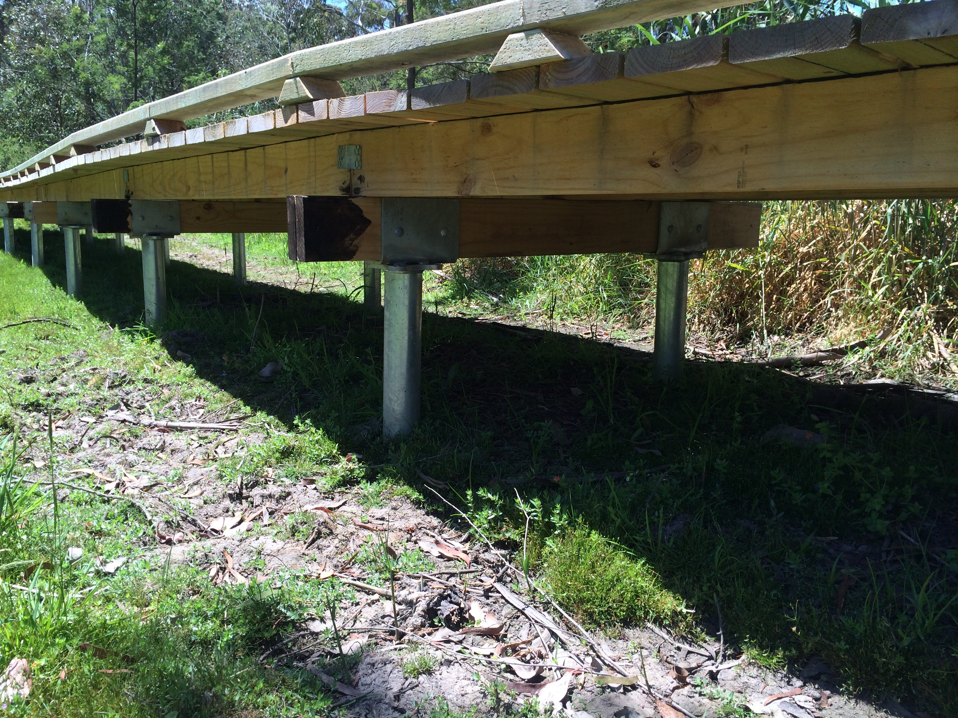 The Briars Estuary Boardwalk Mt Martha 1. Screw Piles used to support boardwalk through wet lands