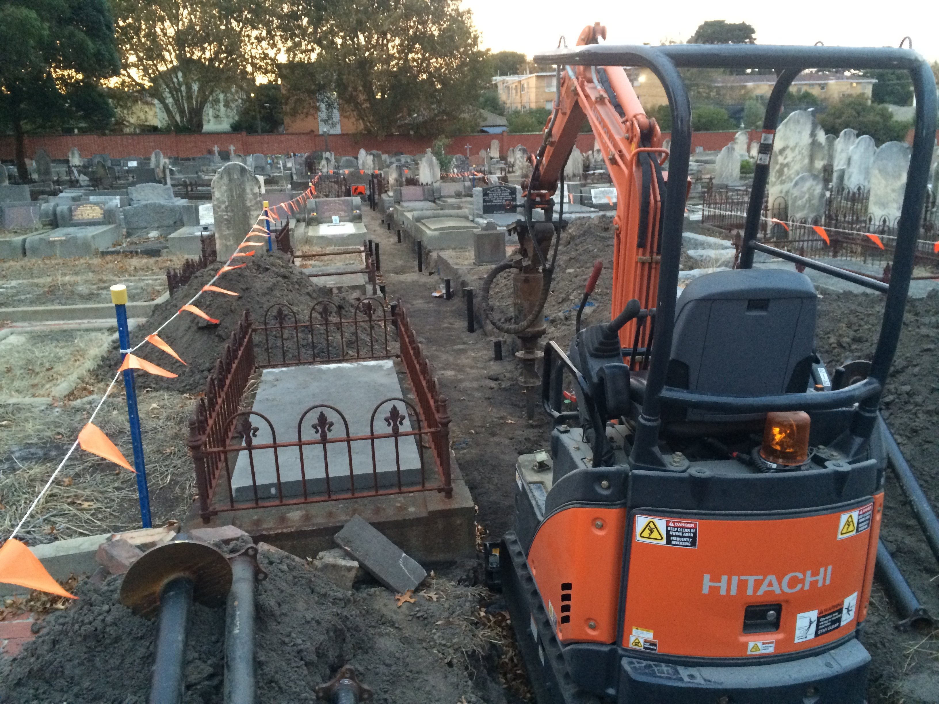 Monumental Grave foundations. Smaller machine used due to tight access
