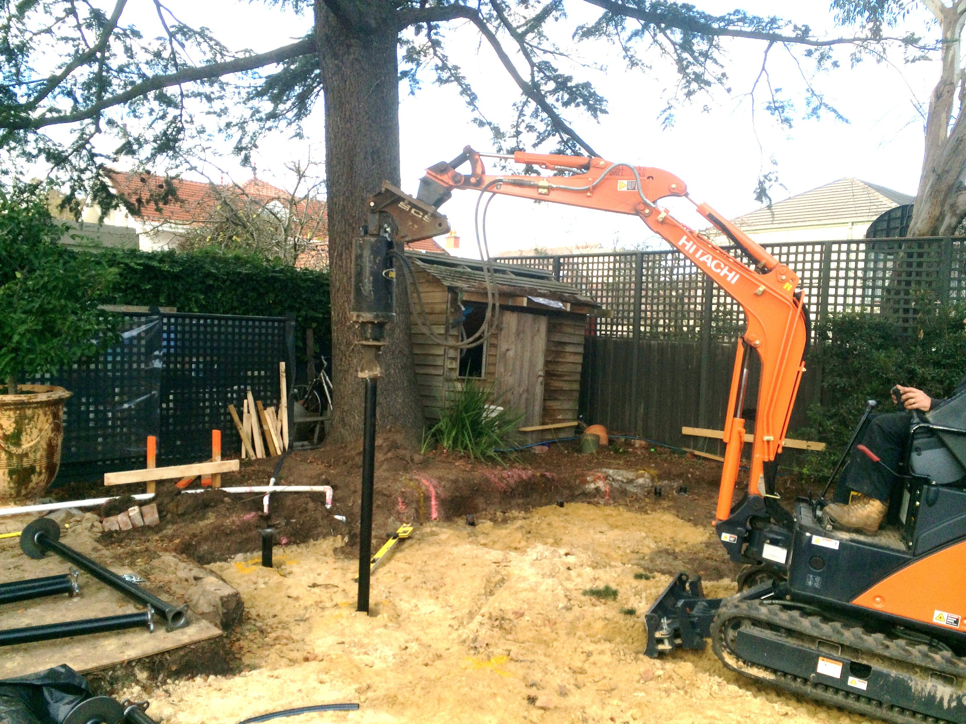 Screw piles used for Tree Root Barrier for heratige listed trees