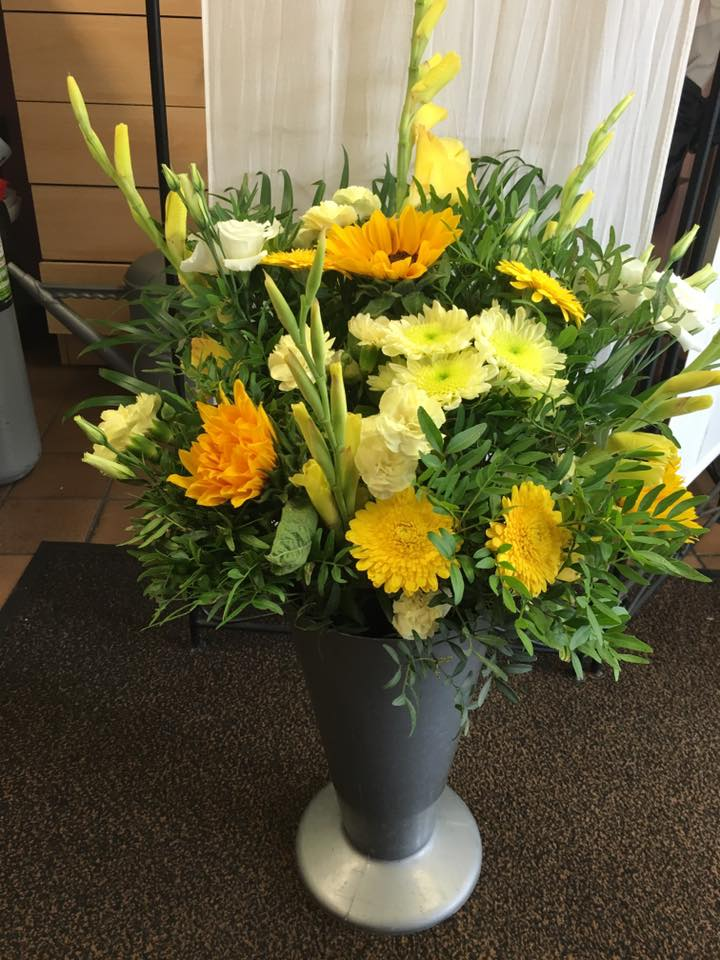 Yellow flowers in a vase