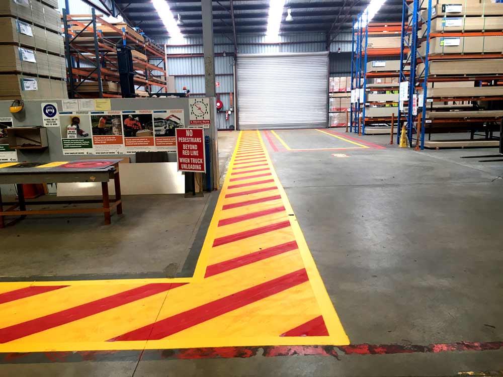 painted hazard lines