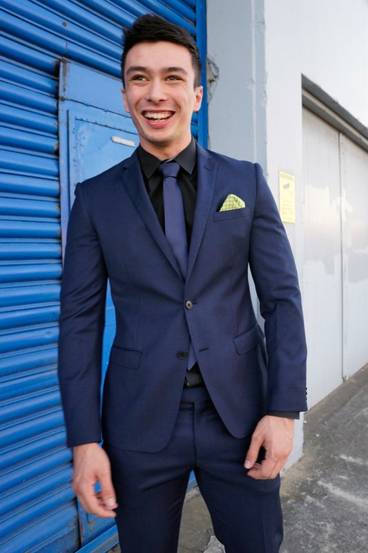 School ball suit hire palmerston north nz van meer suits for Navy suit black shirt