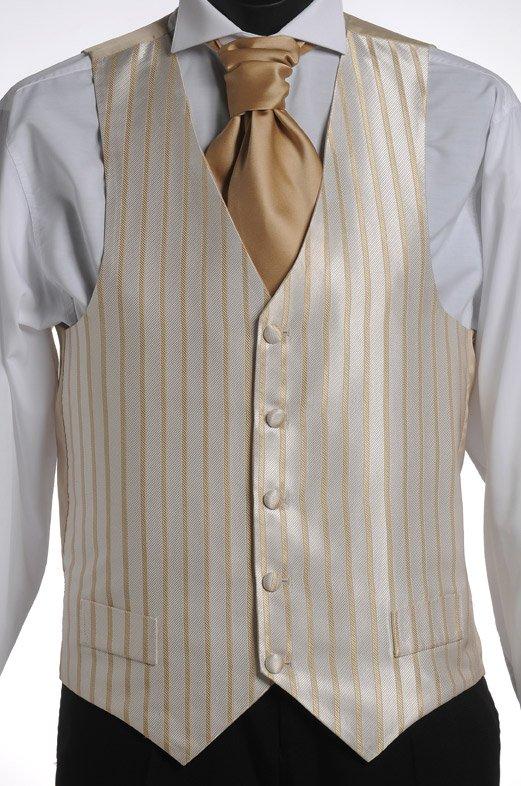 Ivory gold stripe vest