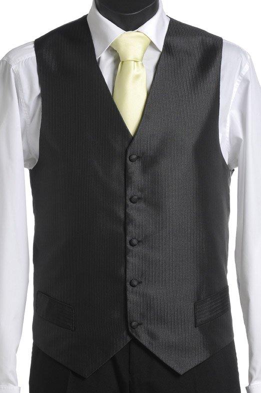 Black self stripe vest