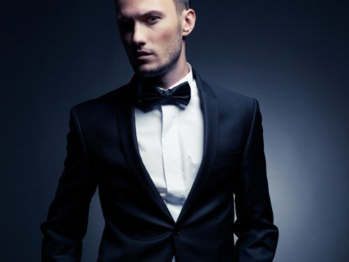 Stylish man in elegant black suit