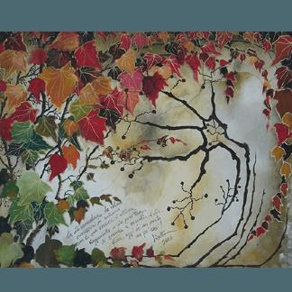 decorazione con fiori, alberi dipinti