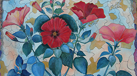 dipinto di fiori, pittura floreale lucca