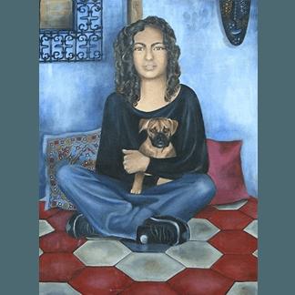 ritratto donna, donna con cane