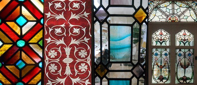 Flowery and geomatric designs in stained glass