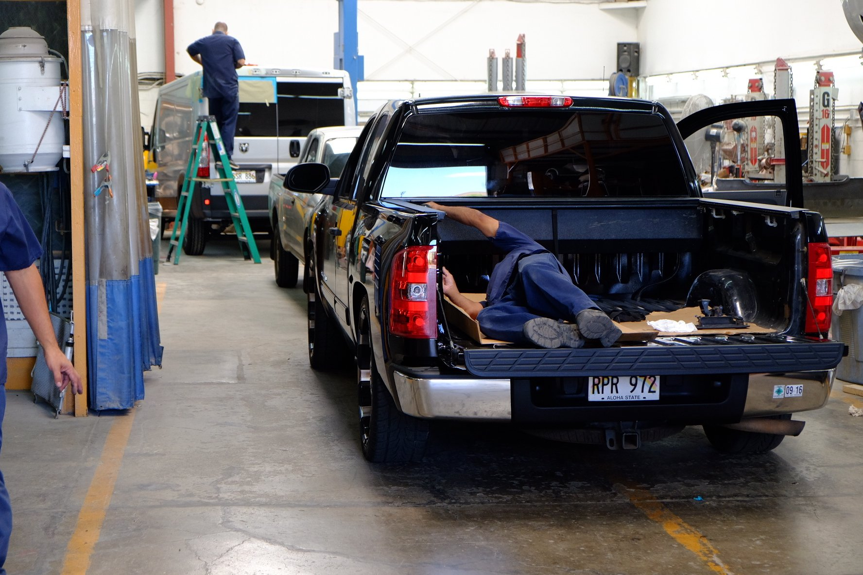 Car being fixed at our auto body shop in Waipahu, HI