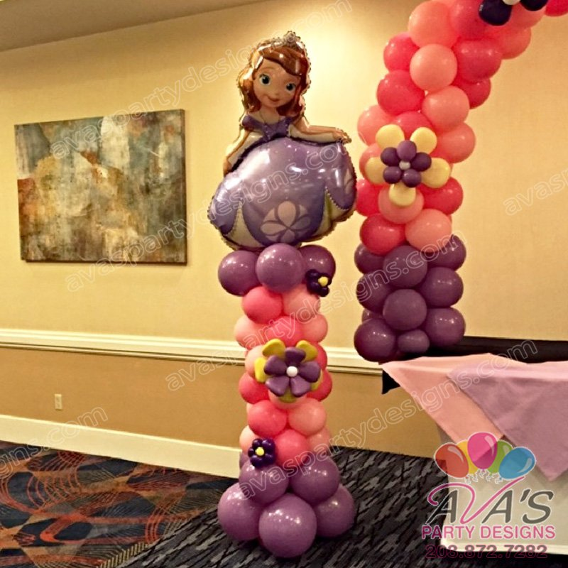Sofia the 1st Balloon Column, Princess Balloon decoration, pink and purple balloon decoration, kids theme balloon decor