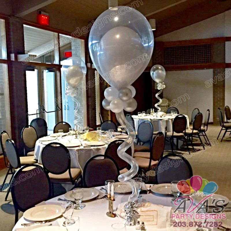 Fantasy Bubble with Curly Balloon, double stuff balloon centerpiece, double bubble balloon