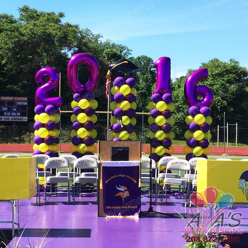2016 Graduation Balloon Columns, podium balloon backdrop