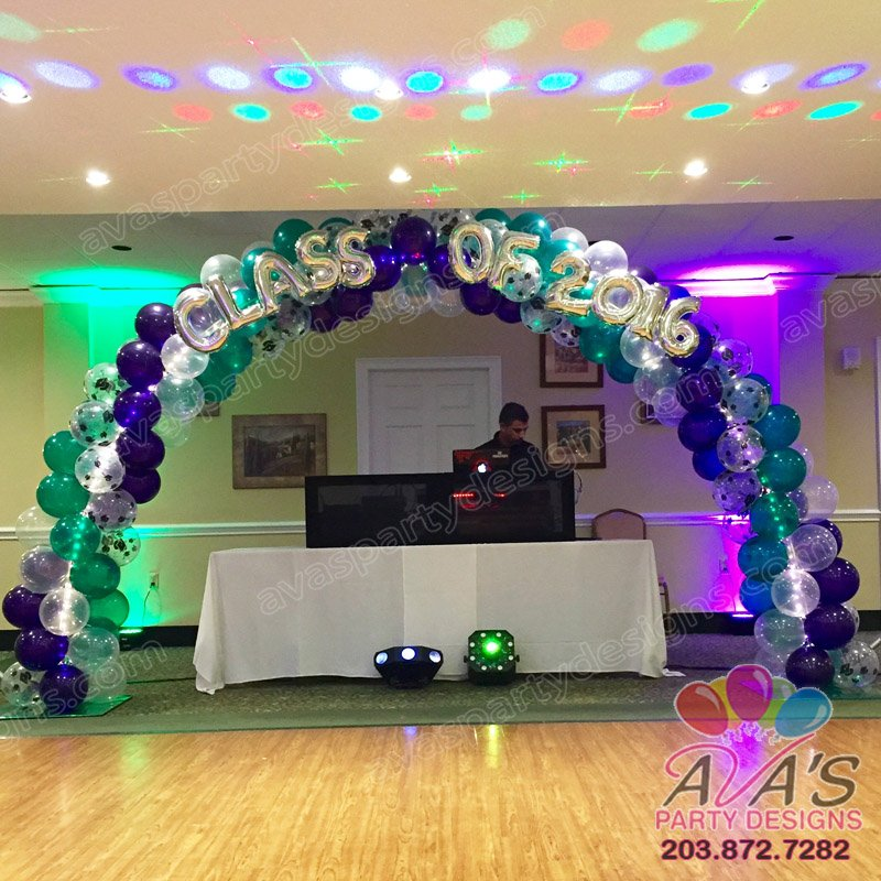 Graduation balloon arch, balloon arch with lights, spiral balloon arch design