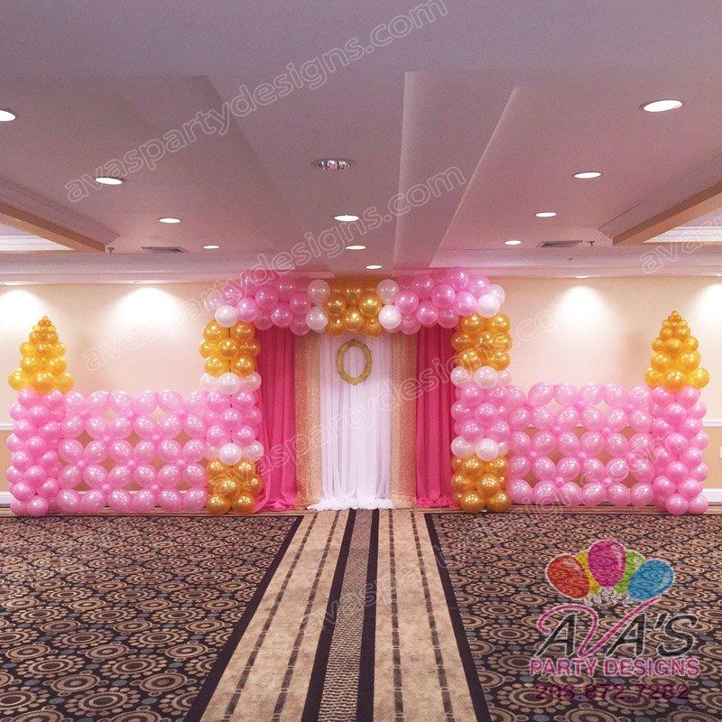 Princess Castle Balloon Wall Backdrop, princess theme balloon decoration, ideas for princess theme birthday parties