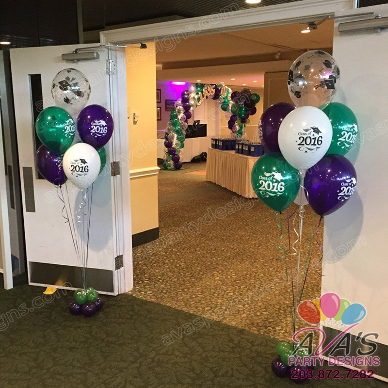 Graduation balloons, class of 2016 graduation floor bouquet, balloon decor ideas for graduations