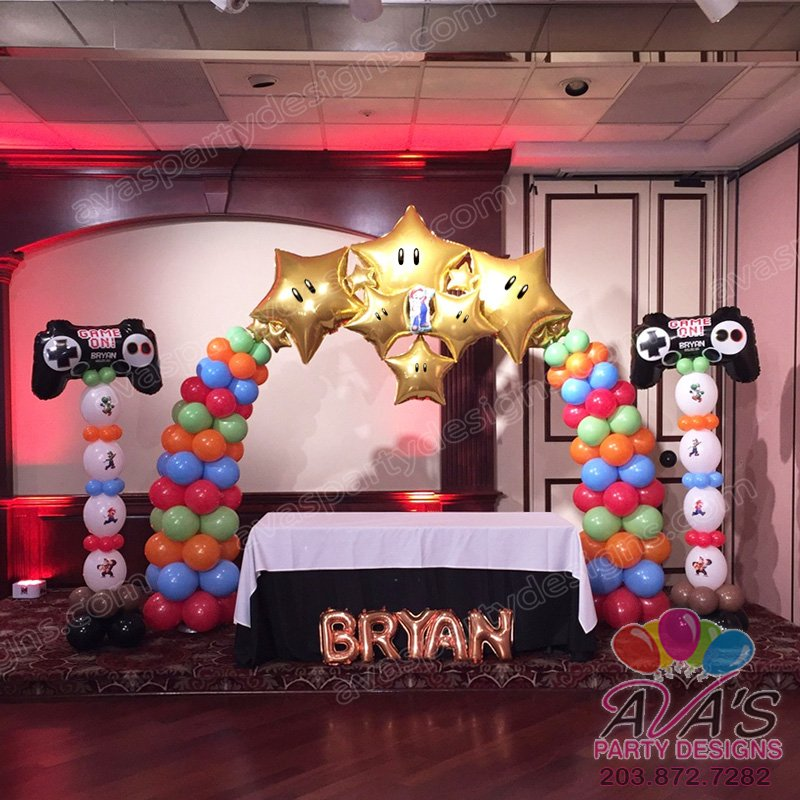Mario Bros Balloon Decor, game theme bar mitzvah, Mario Brothers balloon decoration,
