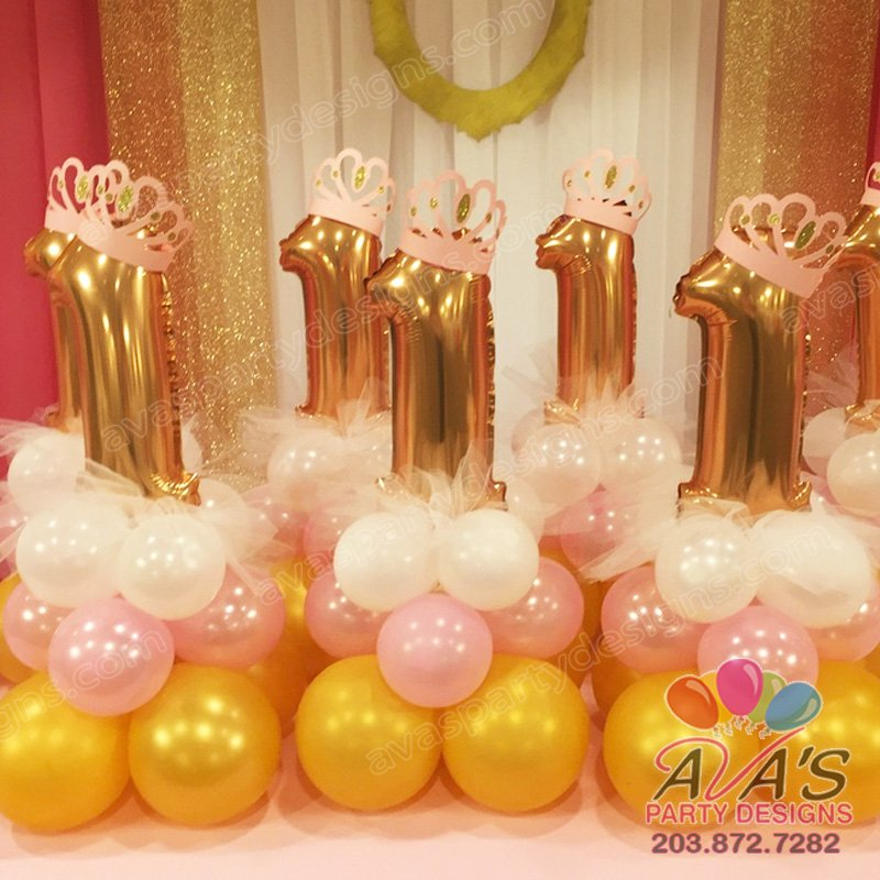 1st Birthday Princess Balloon Centerpieces, first birthday gold and pink balloon decor, ideas for princess theme birthday party
