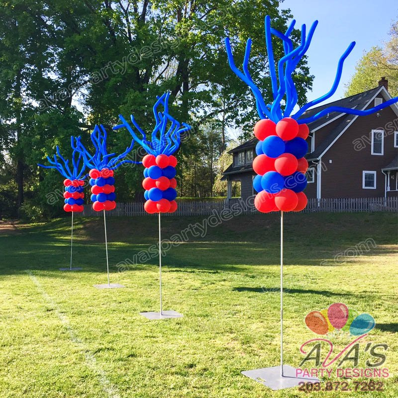 Event Poles with Balloon Wavers, Outdoor balloon columns, red and blue balloon decor