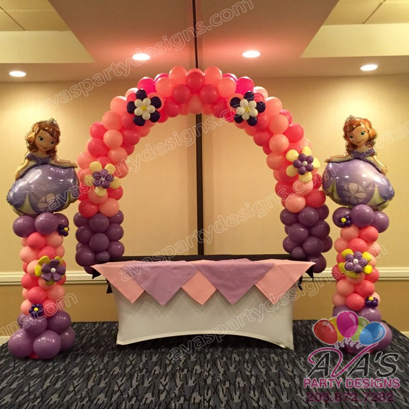 Sofia the First Balloon Arch, Kids theme birthday party, pink and purple balloon arch
