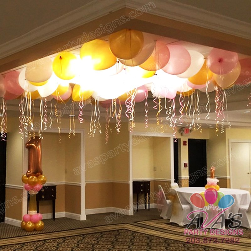 Princess theme balloon ceiling, celing filled with balloons, ideas for princess theme birthday parties