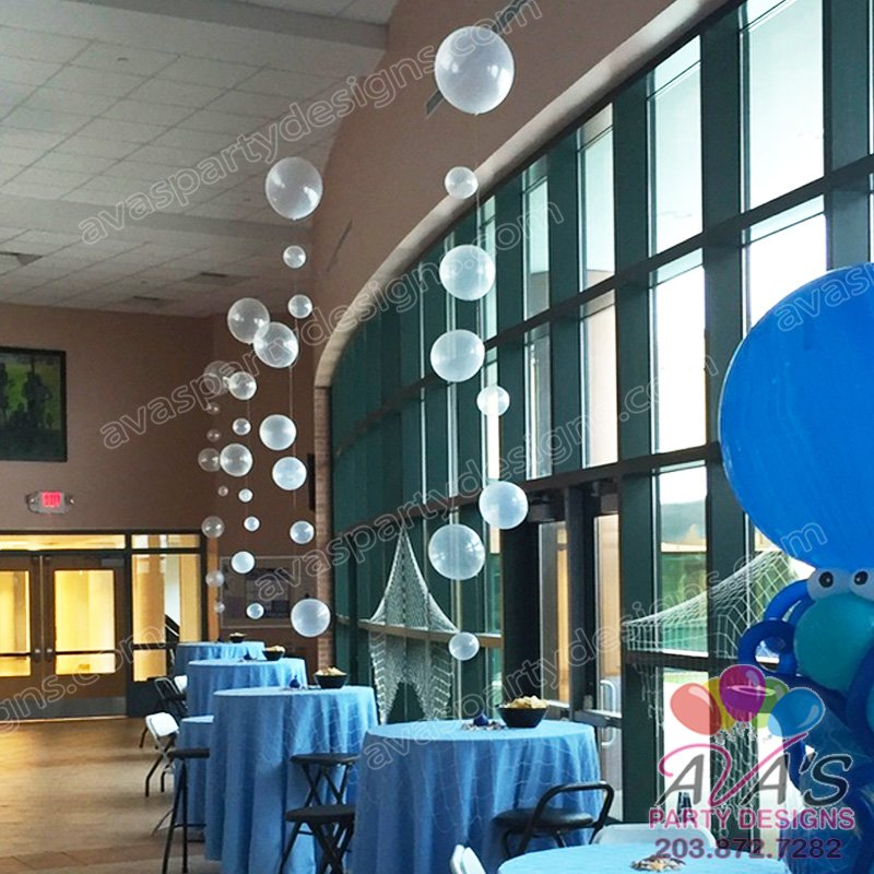 Under the Sea Balloons, ocean bubble balloon centerpiece, balloon bubble strands, under the sea balloon decor
