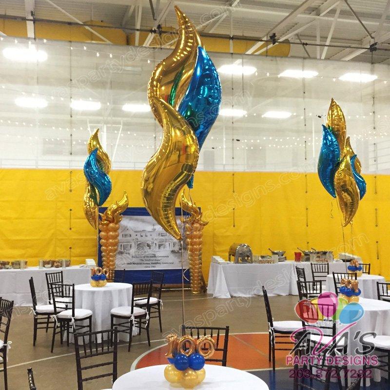 Curve Mylar Balloon, Balloon Centepiece Decoration, Balloon Decorations, Gold and Blue Foil Balloon Decoration