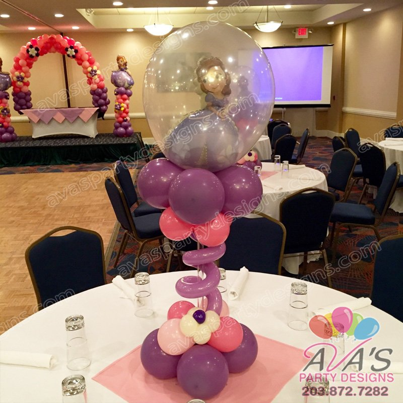 Sophia the first Balloon Centerpiece, double stuff balloon centerpiece, kids theme balloon centerpiece, balloon decor for kids party
