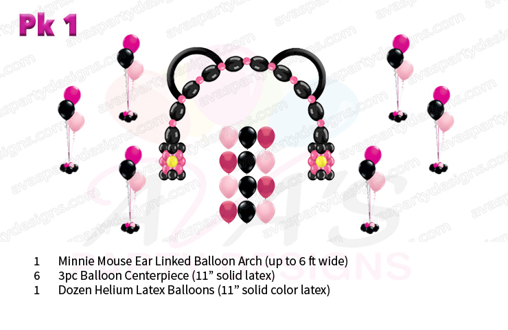 Minnie Mouse balloon decoration, balloon decor packages