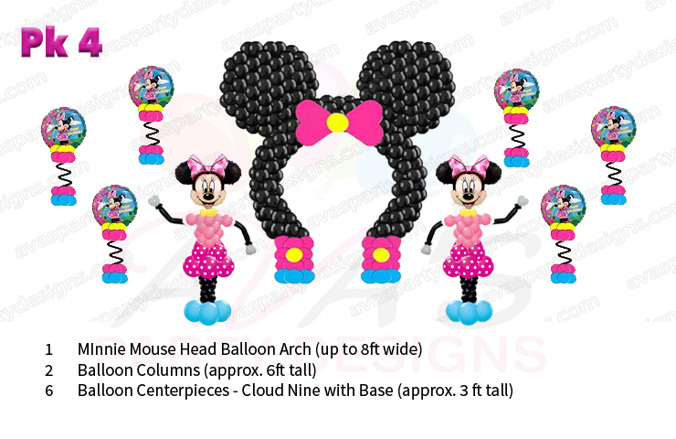Minnie Mouse balloon decor, balloon packages