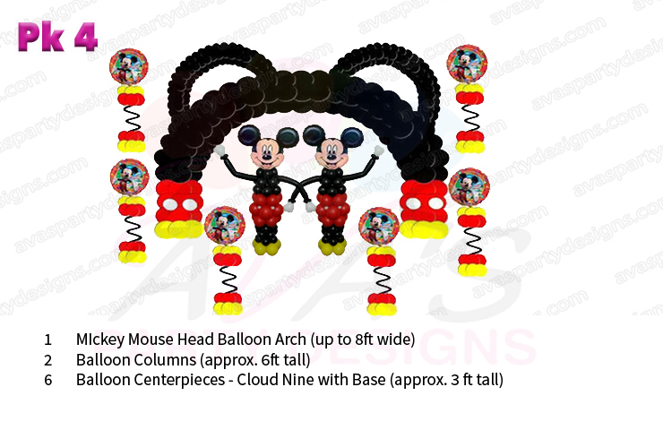 Mickey Mouse balloon decor, balloon packages