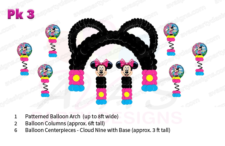 Minnie Mouse balloon decoration, balloon packages