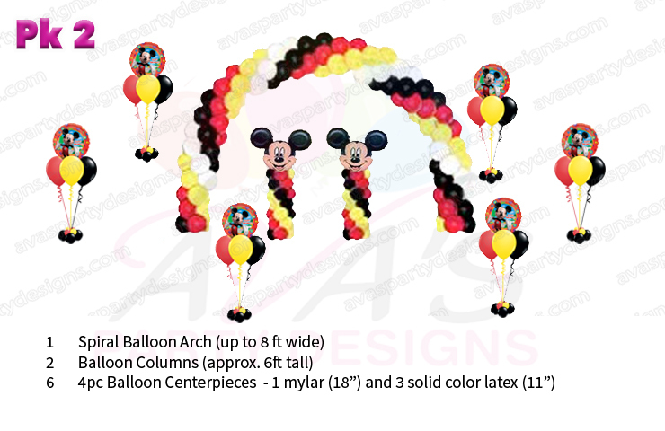 Mickey Mouse balloon decorations, balloon packages