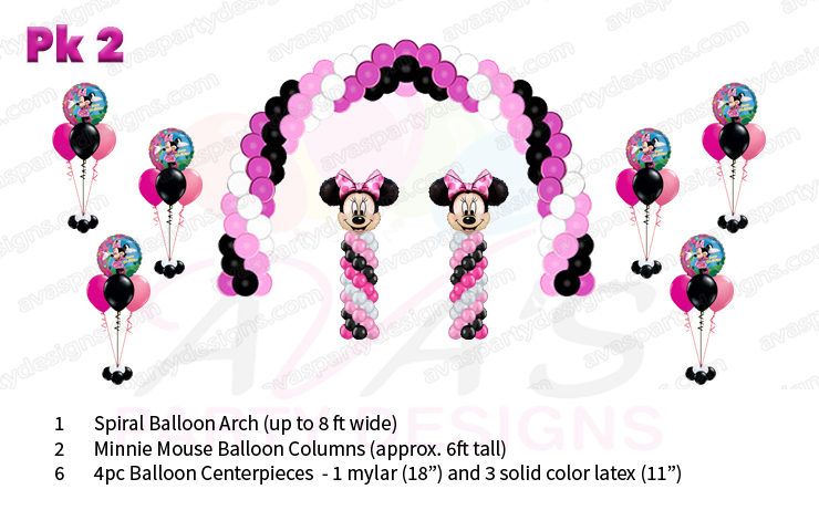 Minnie Mouse balloon decorations, balloon decor packages