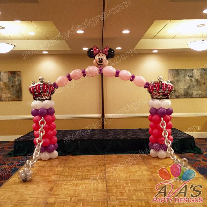 Minnie Mouse Balloon Arch, Castle balloon arch, birthday party decoration, dance floor balloon decor